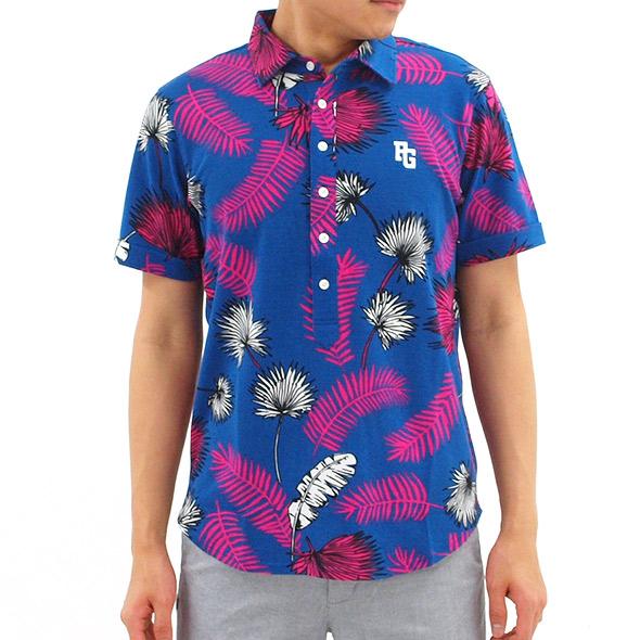 PG リーフプリント半袖カットシャツ