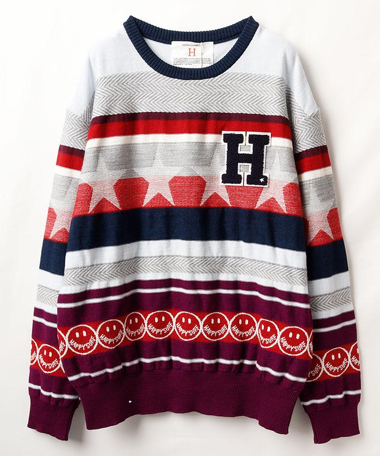 HO マルチボーダーニットセーター