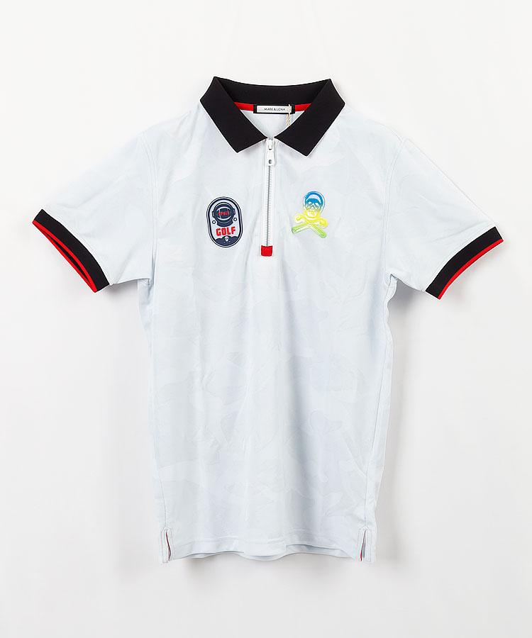 ML ハーフジップカモフラポロシャツ