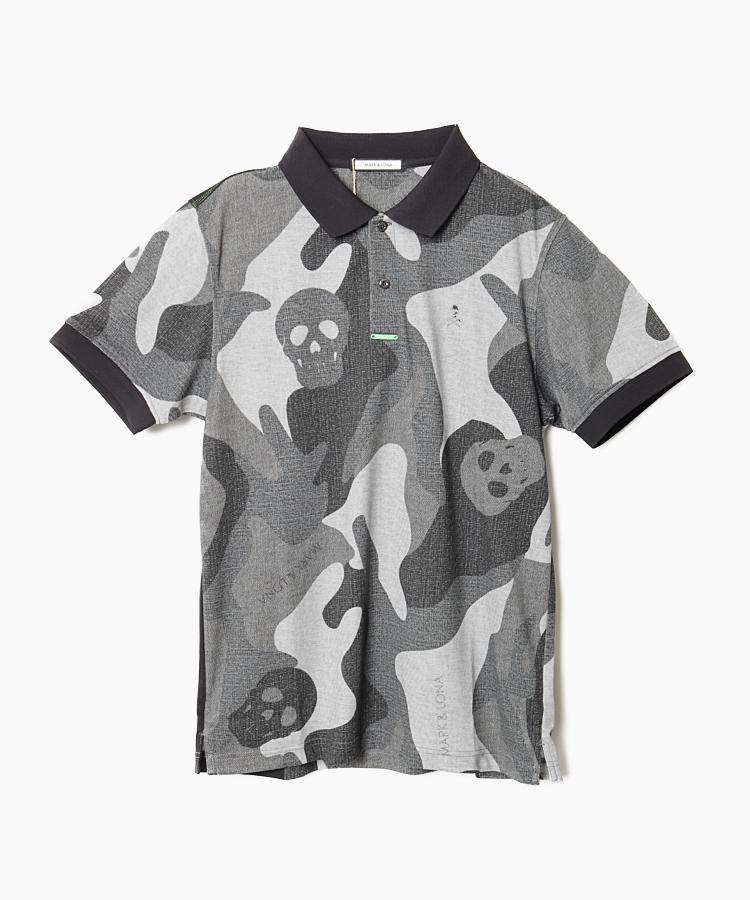 ML カモフラBIGスカルポロシャツ