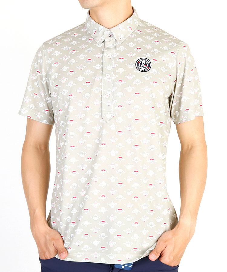 AP ティーポット柄ハーフボタンシャツ