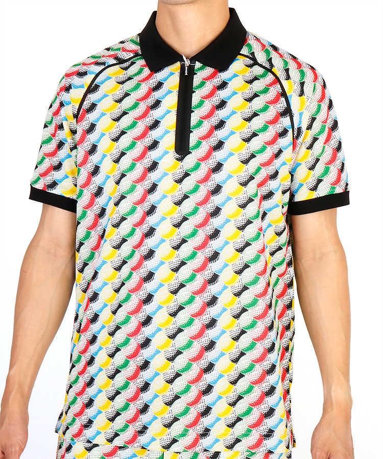 JR ボールパターン柄半袖ポロシャツ