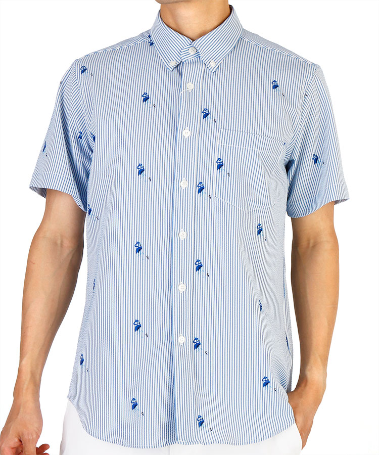 JR サッカーストライプフラミンゴ柄プリントシャツ