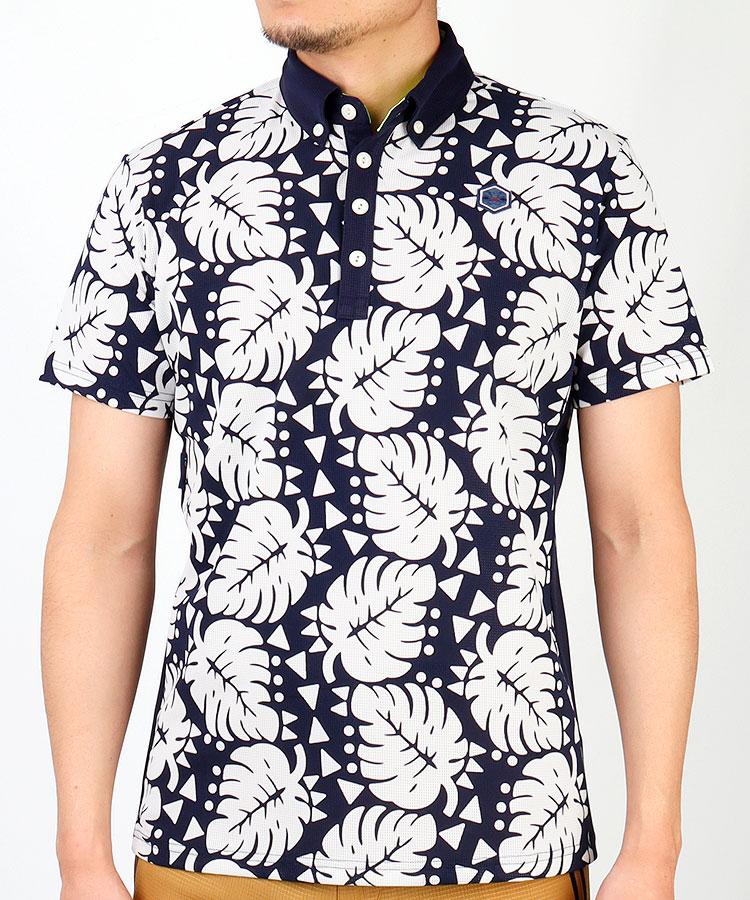 TV リーフ柄◆メッシュ半袖ポロシャツ