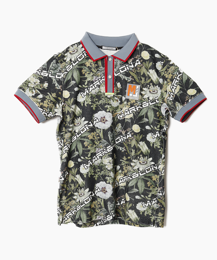 ML ボタニカル&ロゴ◆半袖ポロシャツ
