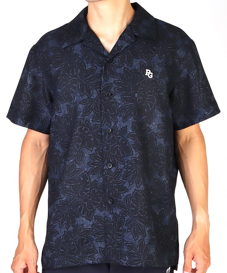 PG リーフ柄◆カラミストレッチ半袖シャツ