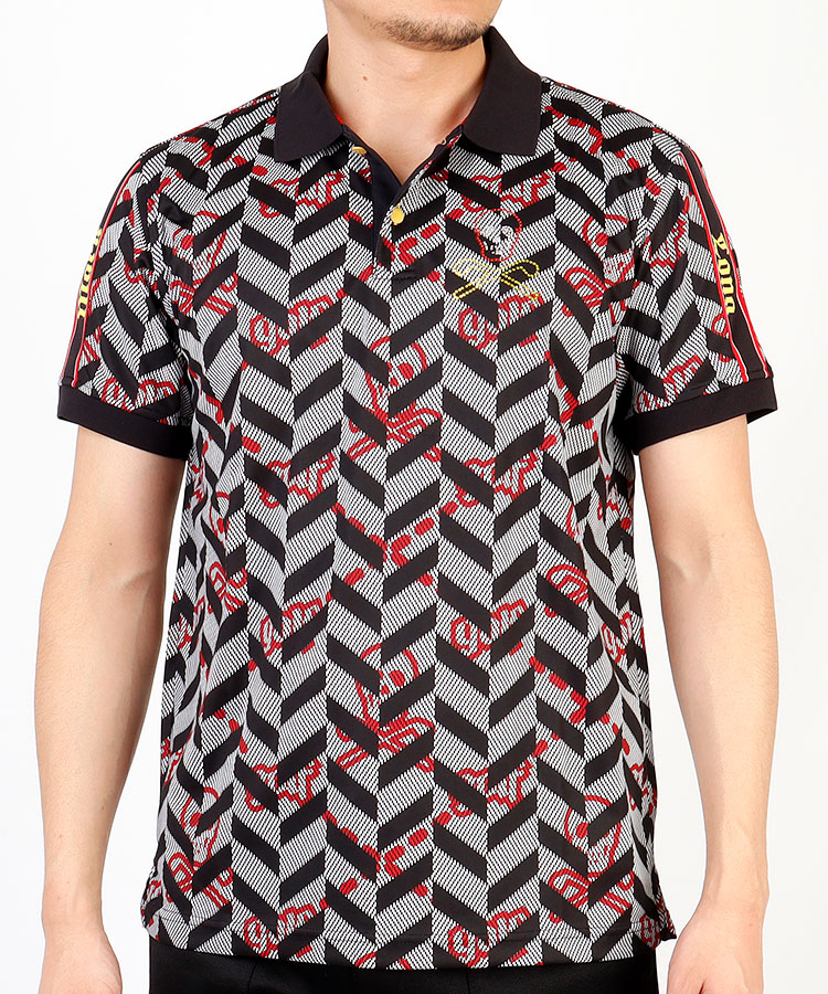 ML スカルラインストーン◆半袖ポロシャツ