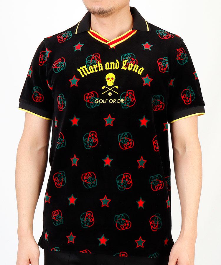 ML ロゴドット◆ベロア半袖ポロシャツ