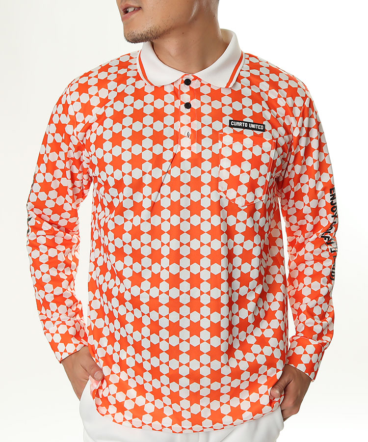 CU 幾何学柄◆長袖ポロシャツ
