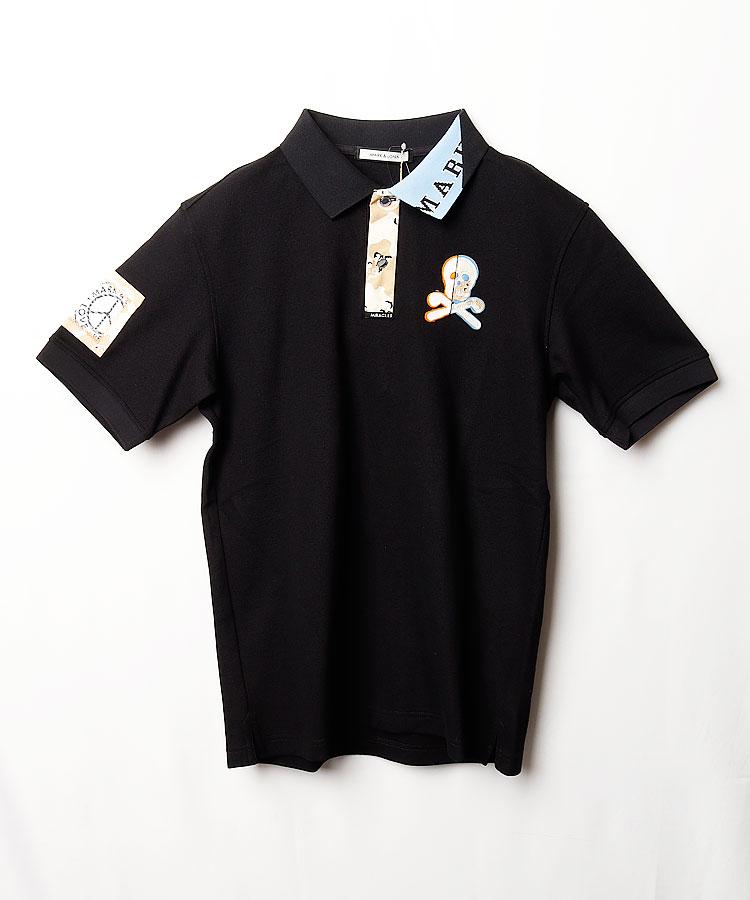 ML リメイク風スカル◆半袖ポロシャツ