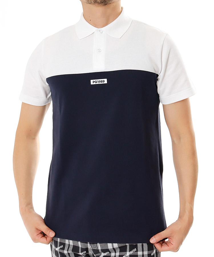PG 鹿の子切替◆半袖ポロシャツ