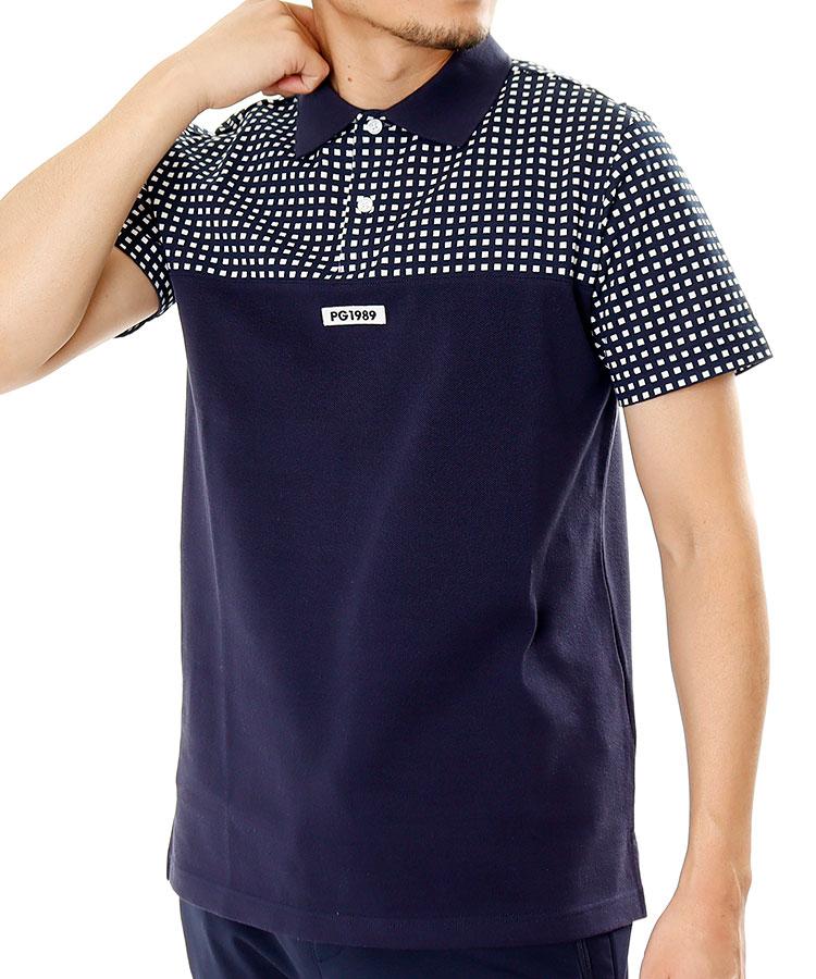 PG Check切替◆鹿の子半袖ポロシャツ