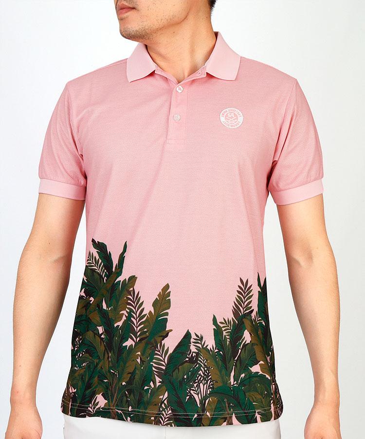 JB ボタニカル柄◆半袖ポロシャツ
