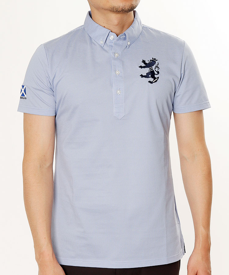 AM ストライプ柄◆ボタンダウン半袖ポロシャツ