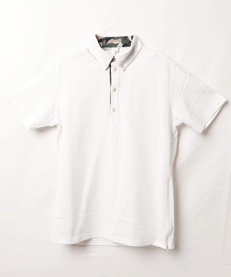 RD 異素材切替◆サイドZIP半袖ポロシャツ