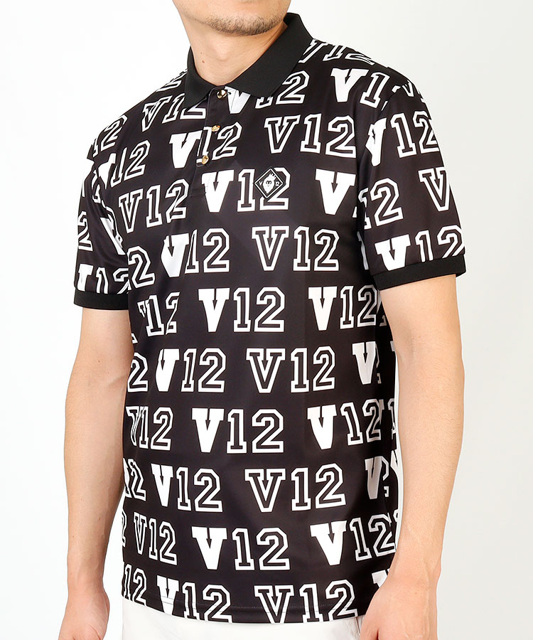 VI ロゴ総柄◆半袖ポロシャツ