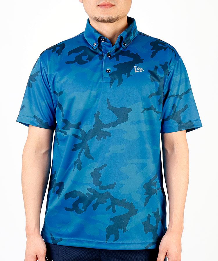 NE カモフラ柄◆半袖ポロシャツ(ブルー)
