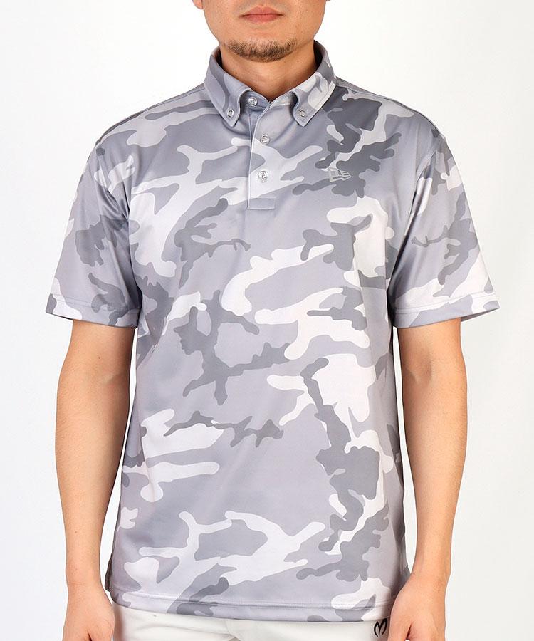 NE カモフラ柄◆半袖ポロシャツ(グレー)