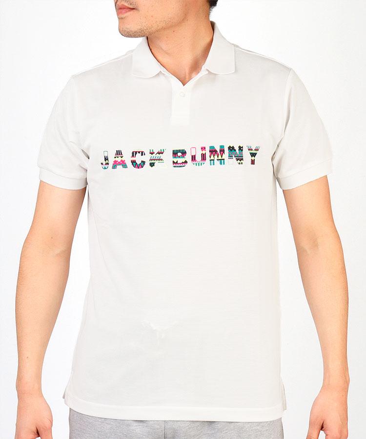 JB トライバル柄ロゴ刺しゅう半袖ポロシャツ