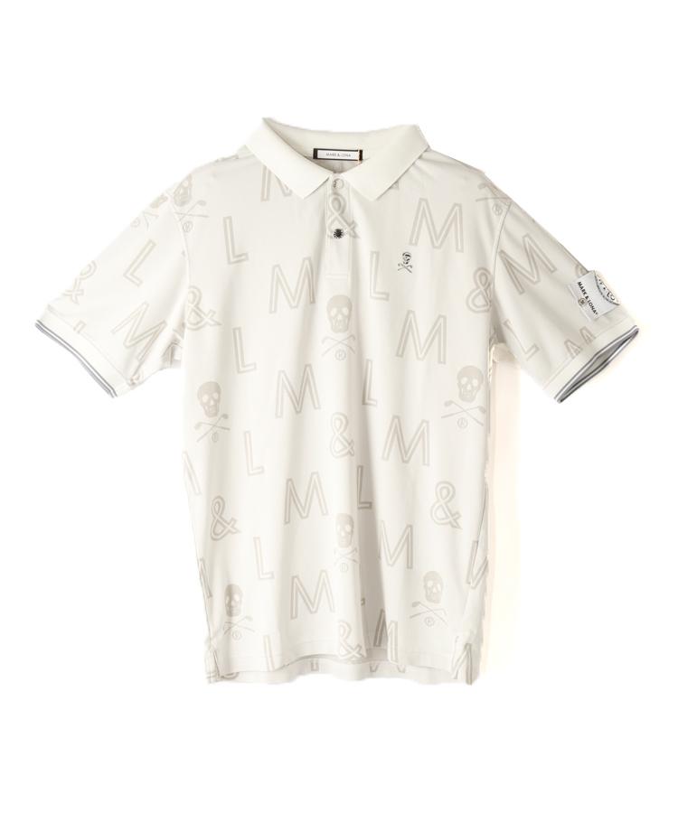 ML 総柄◆半袖ポロシャツ