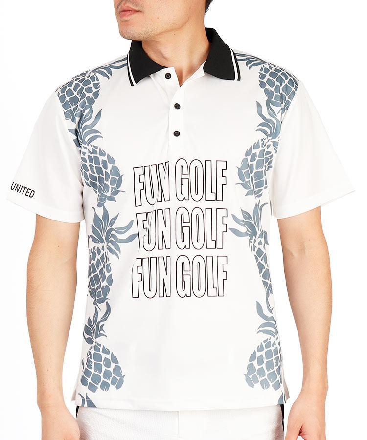 CU パイナップルプリント半袖ポロシャツ