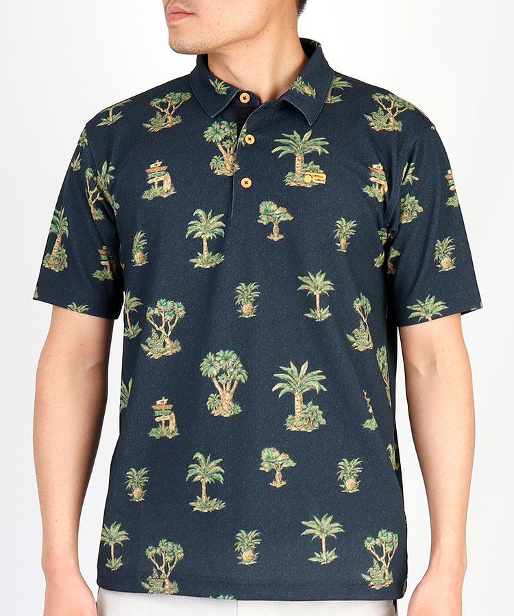 RO 吸水速乾◆パームツリー半袖ポロシャツ