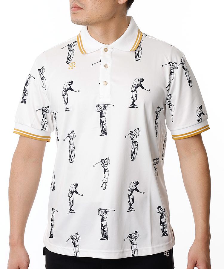 RR ゴルファーイラスト総柄◆半袖ポロシャツ
