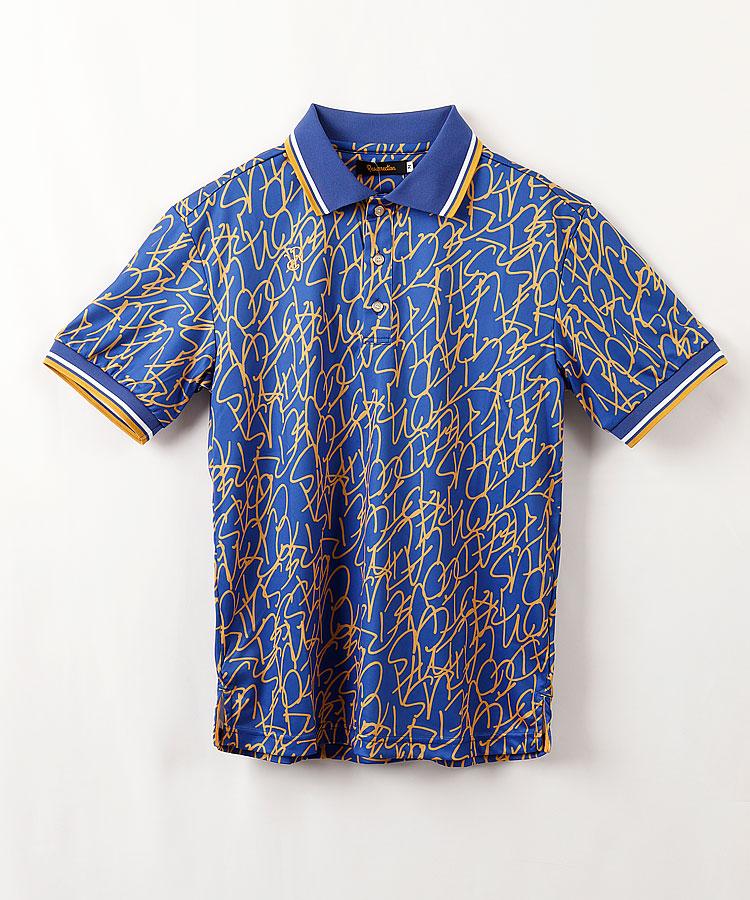 RR ロゴ総柄print◆半袖ポロシャツ