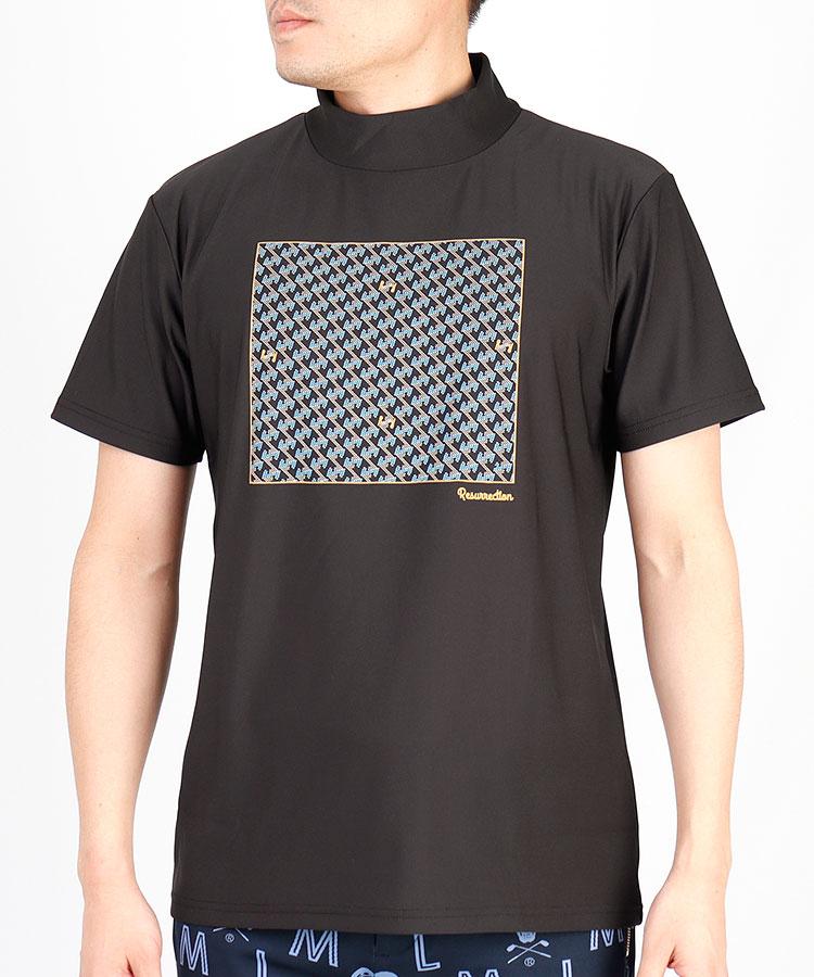 RR 幾何学print◆モックネック半袖カットソー