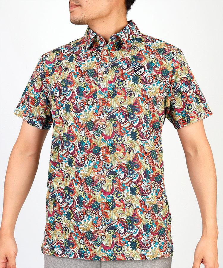 JB パイナップルペーズリー柄◆半袖ポロシャツ