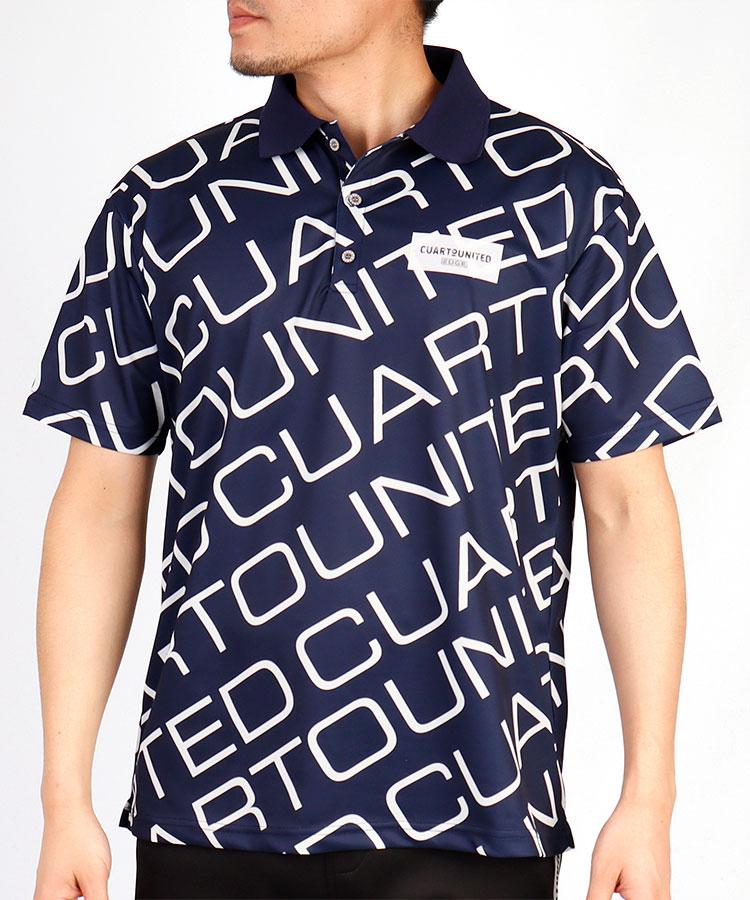 CU ロゴ総柄◆ホノグラムワッペン半袖ポロシャツ