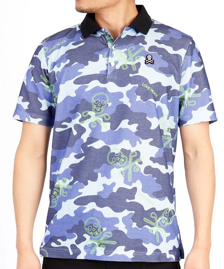 ML スカルカモフラPrint◆コットン半袖ポロシャツ