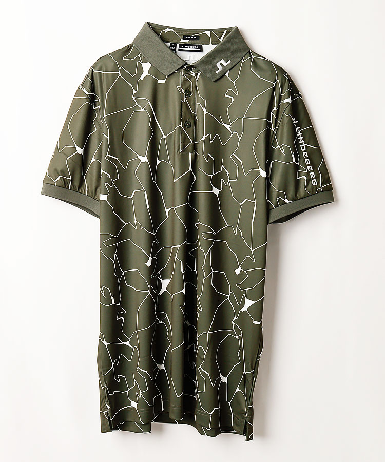 JL 吸水速乾◆グラフィックPrint半袖ポロシャツ