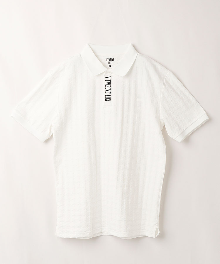 VI 千鳥柄★ジャガード半袖ポロシャツ