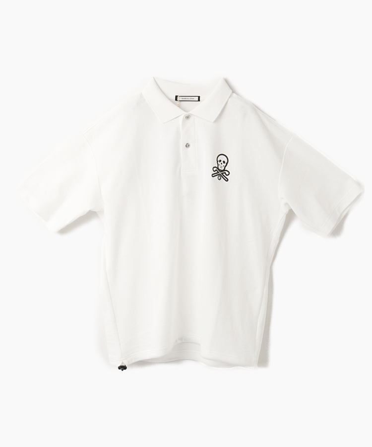 ML スカルプリント◆オーバザイズ半袖ポロシャツ