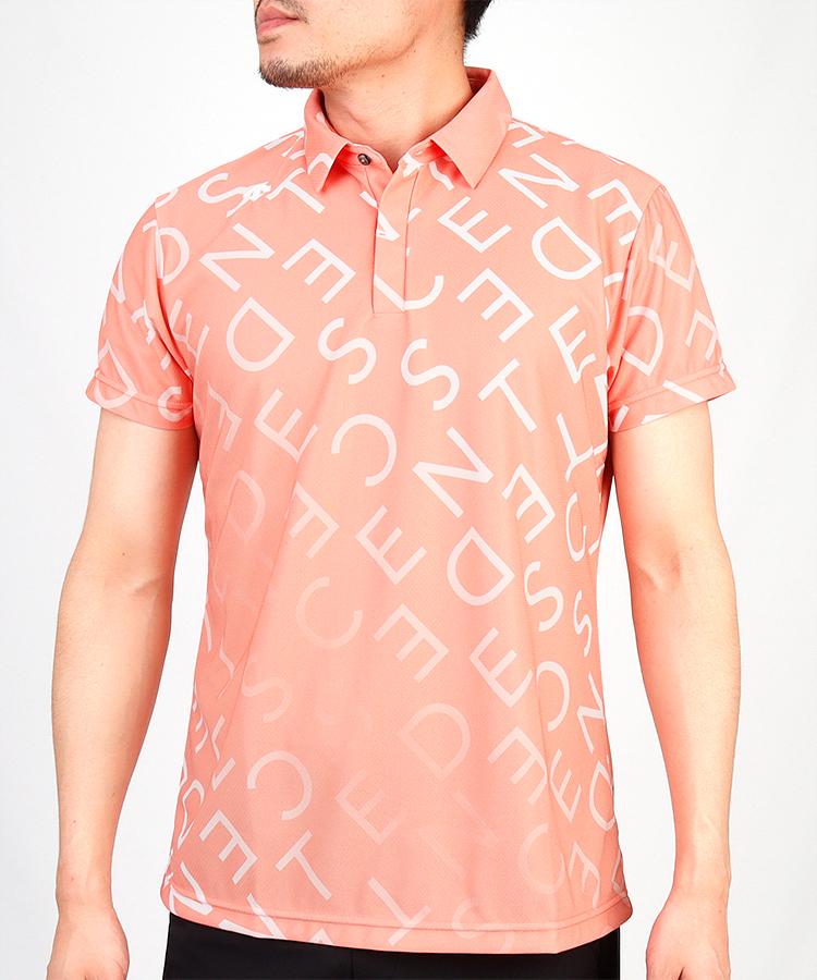 DE 涼しさ続く◆アルファベット柄半袖ポロシャツ