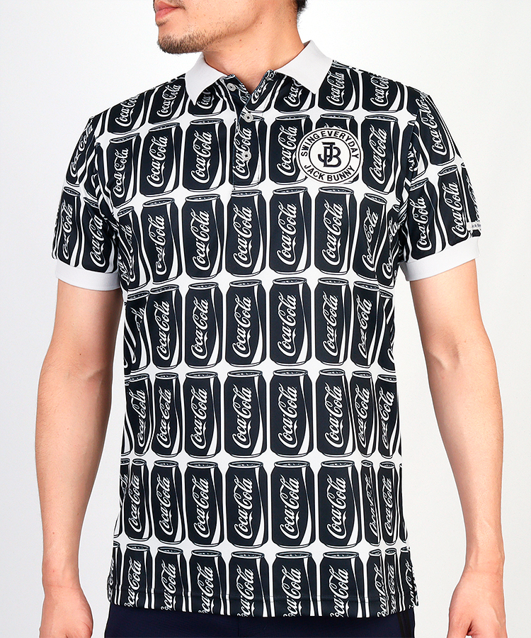 JB CocaCola缶アート総柄◆半袖ポロシャツ