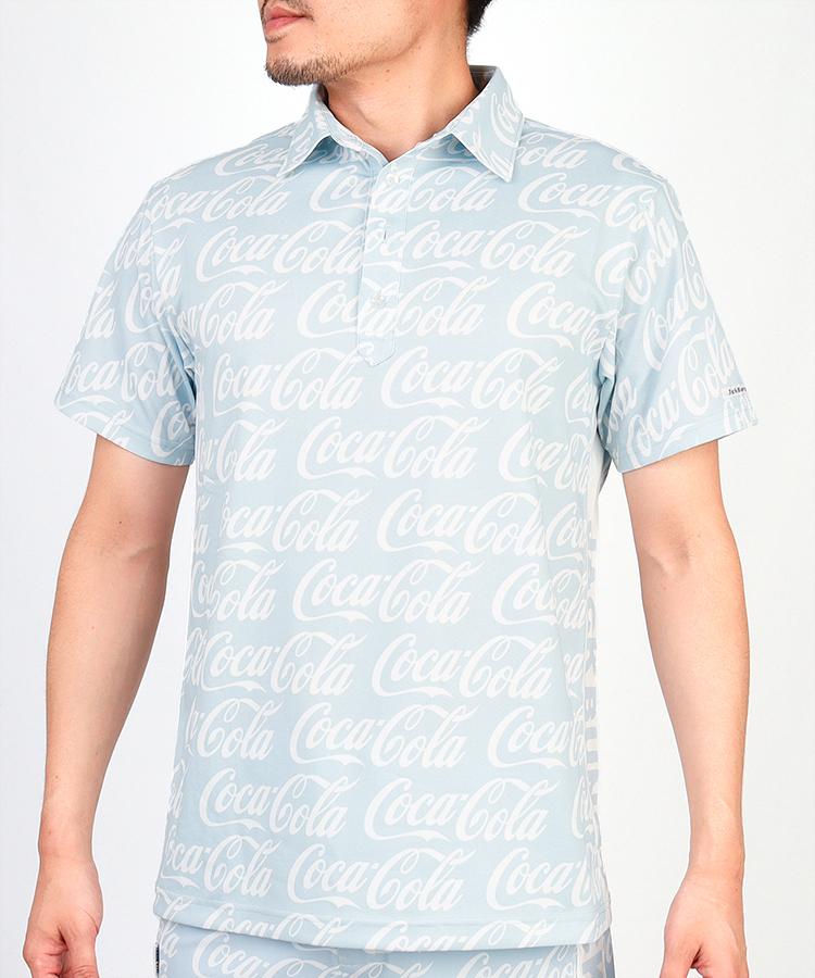 JB CocaColaロゴ総柄◆半袖ポロシャツ