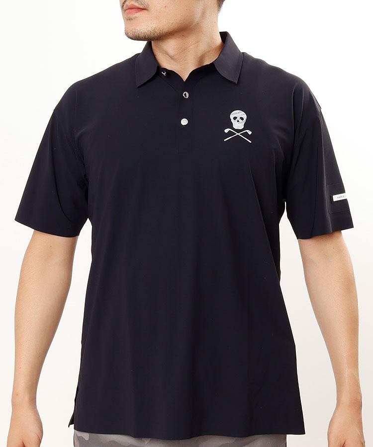 ML 透けスカルとろみ半袖ポロシャツ