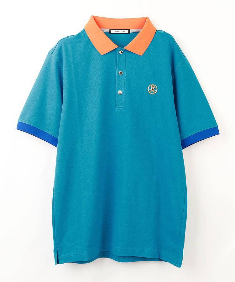 ML バイカラー◆鹿の子半袖ポロシャツ