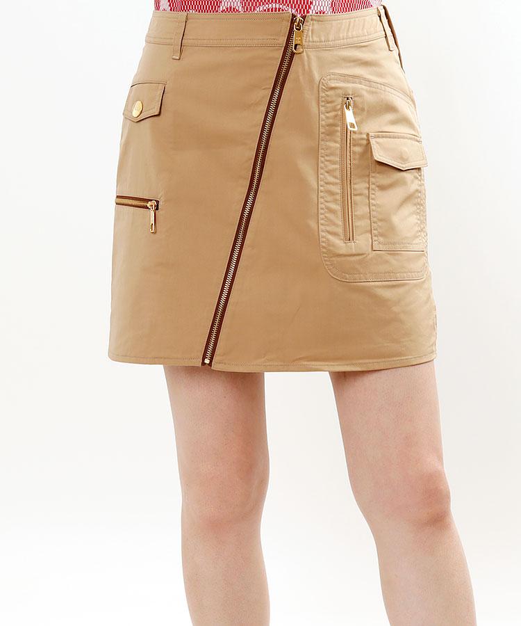 ML ZIPデザインBack襟モチーフ裏メッシュスカート