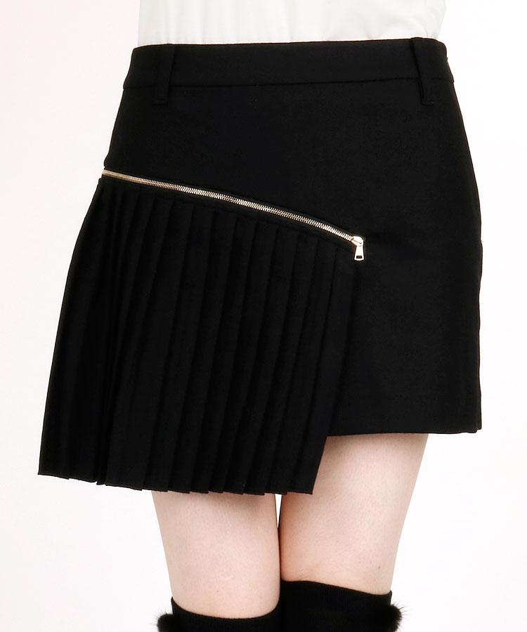 SA 【Black】ZIP付プリーツ♪一体ペチWOOL混スカート