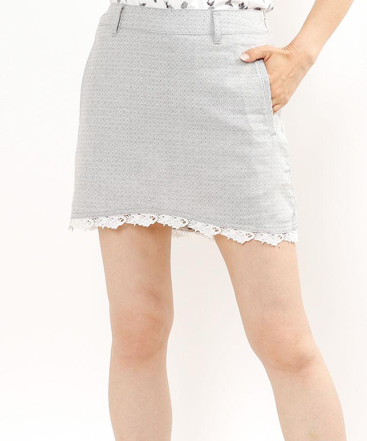 SA 【White】裾Flowerレース♪一体ペチクラシックスカート