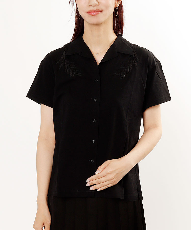 SA 【Black】Leaf柄スパンコール◆リネン混半袖シャツ