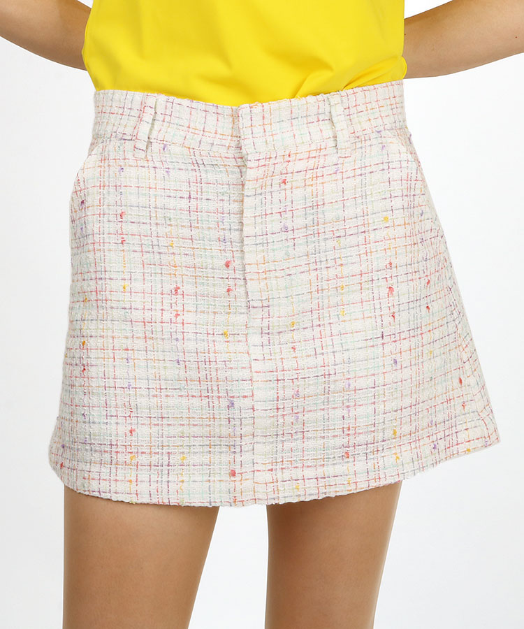 AI Colorfulツイードチェック♪一体ペチスカート