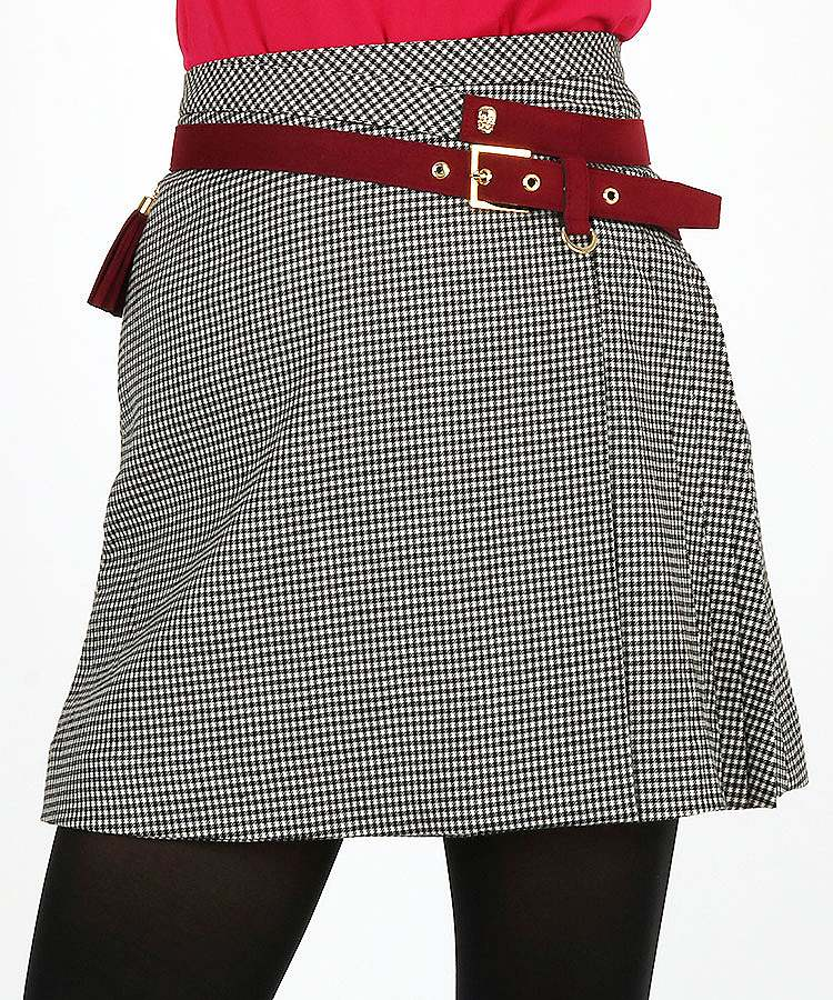 ML チェック柄アシメSIDEプリーツ♪WOOLスカート