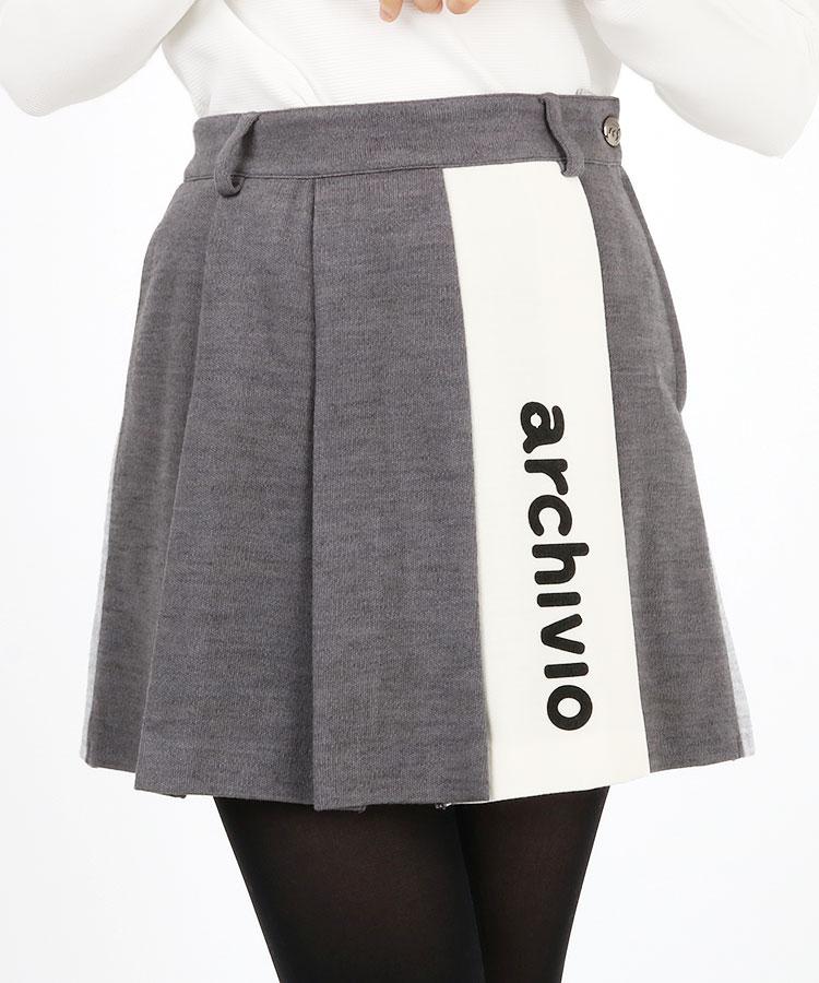 AR ロゴ入りLINE◆配色プリーツWOOLスカート