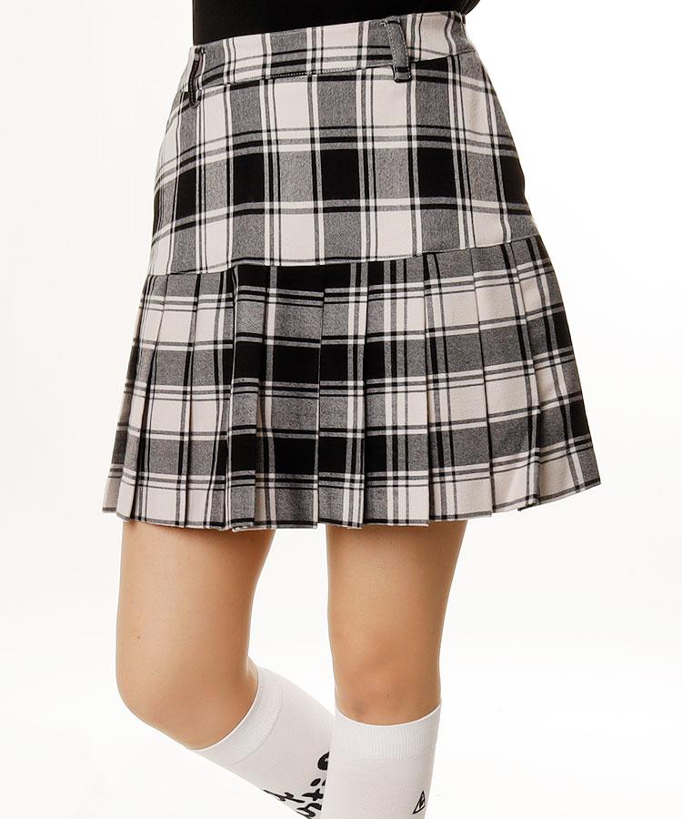 RI チェック柄♪裾プリーツ一体ペチスカート