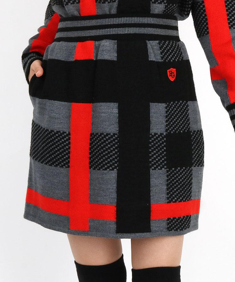 PG BIGチェック柄◆モヘア風ニットスカート
