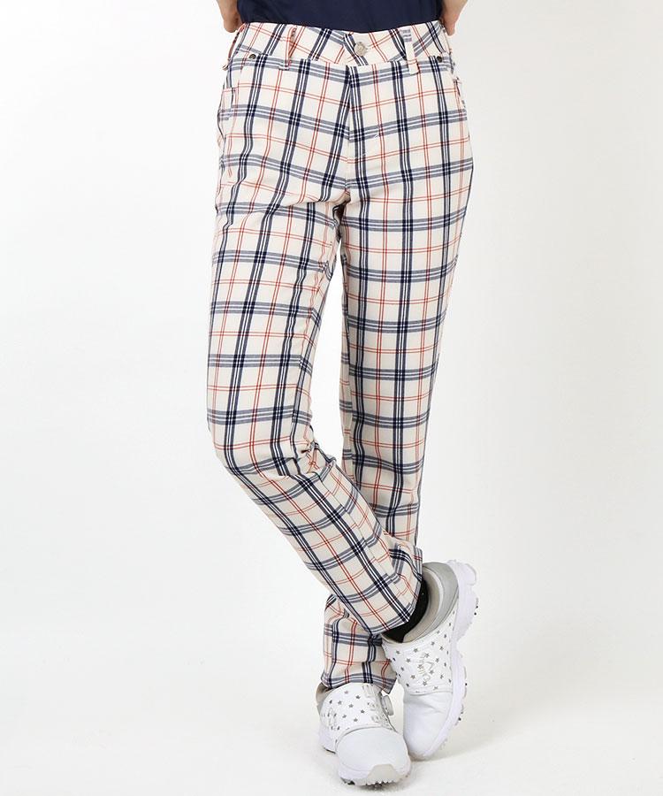 EG チェック柄◆微起毛パンツ(ホワイト)